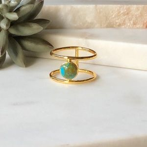 Jewelry - Gold Tone Double Band Faux Turquoise Ring 10.5